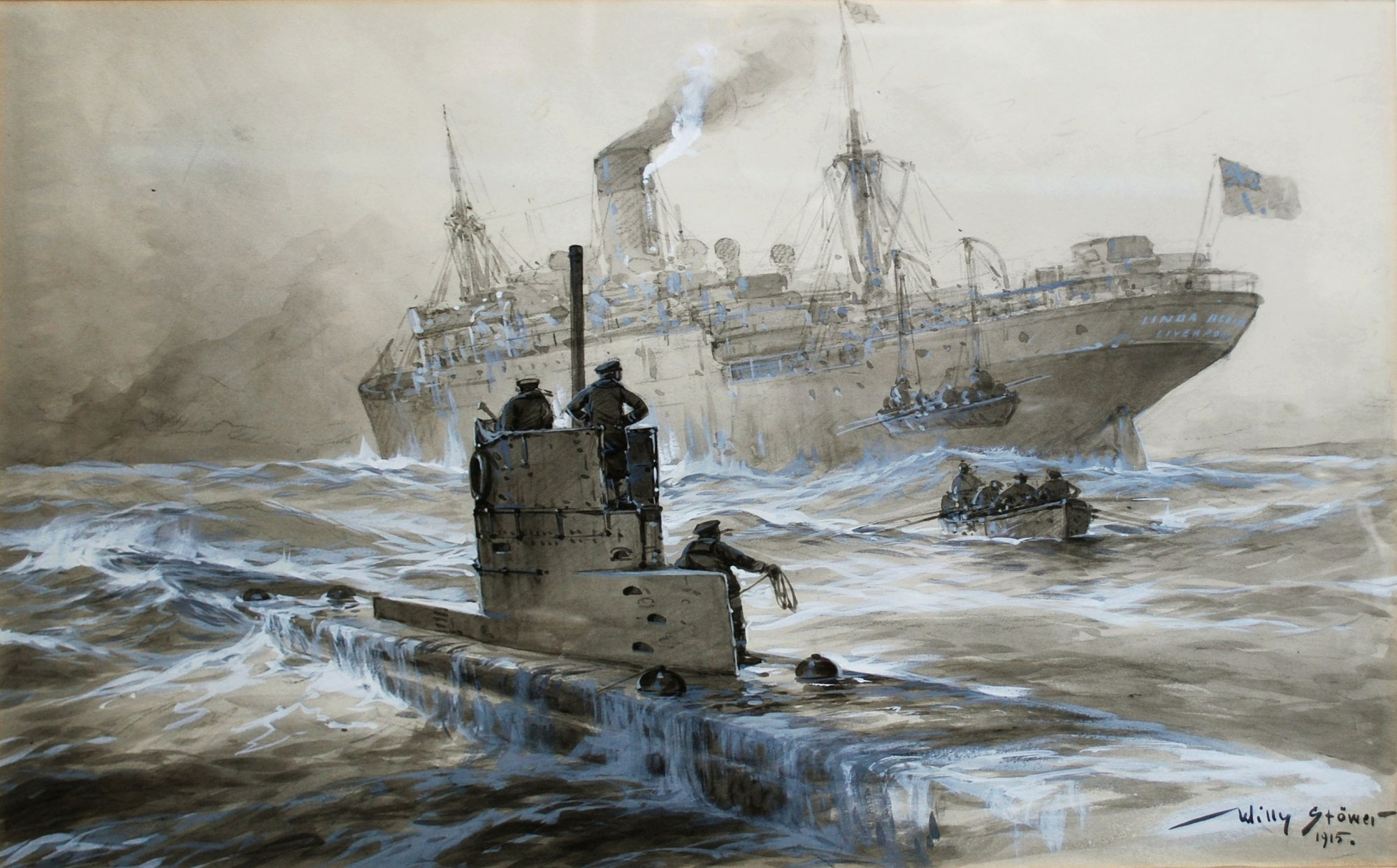 hight resolution of sinking of the linda blanche out of liverpool by sm u 21 willy st wer