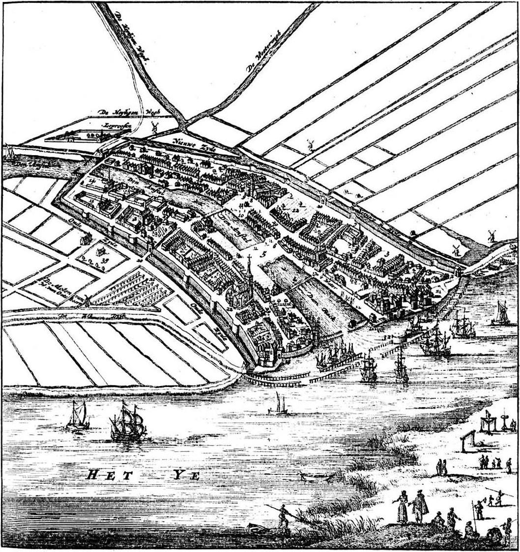 Kaart Amsterdam in de middeleeuwen