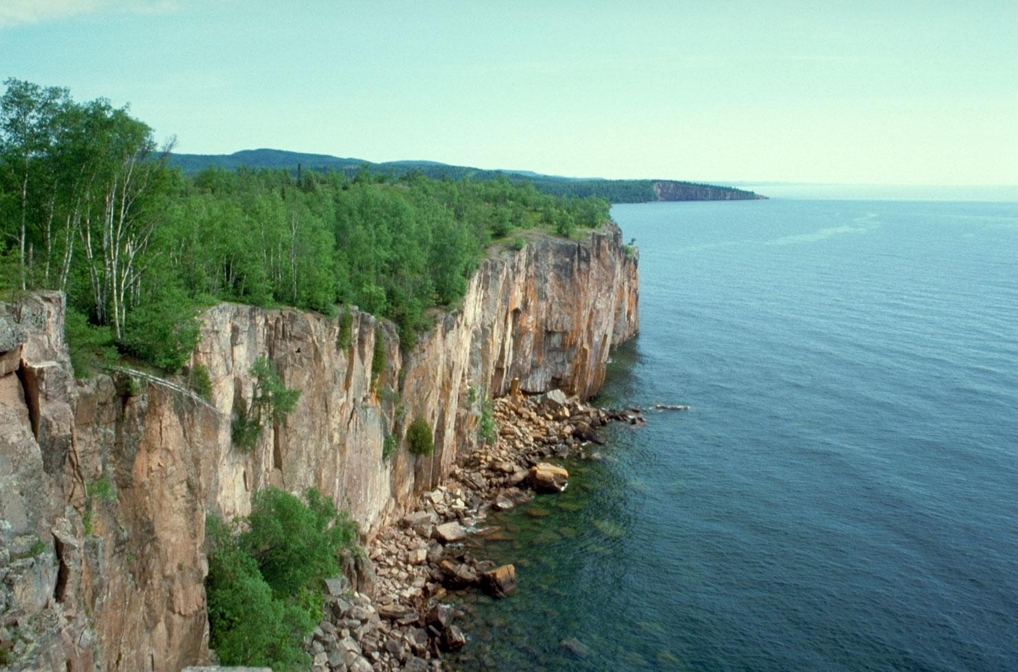 Cliffs on the shores of Lake Superior from the Minnesota shore.