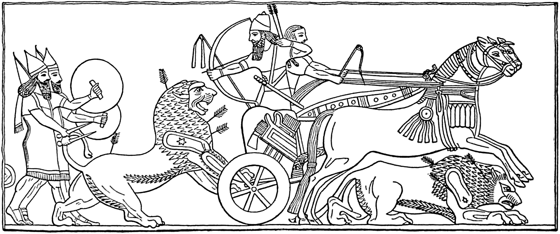 File Assyrian King Hunting Lions