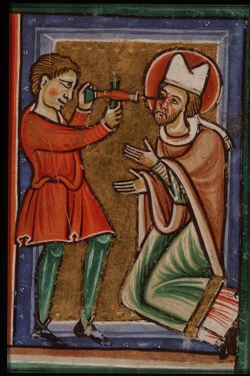 The blinding of St. Leger, Bishop of Autun, from a French Bible of c.1200 via Wikimedia Commons