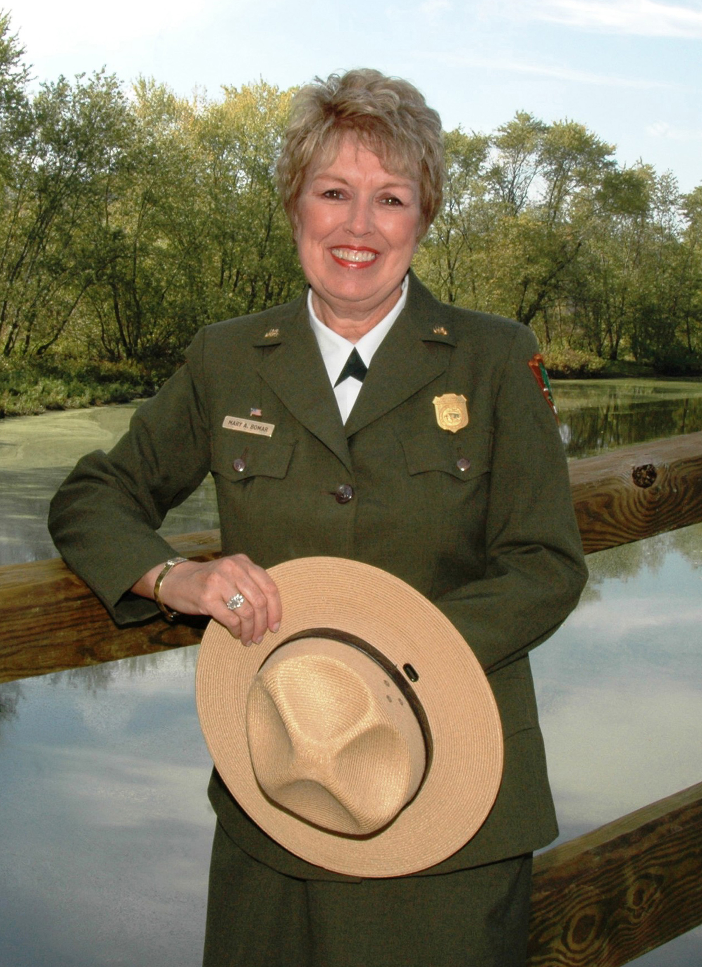 The 44 style hat comes standard with a pyramid pattern of three eyelets on each side of the crown. National Park Service Uniforms Wikipedia