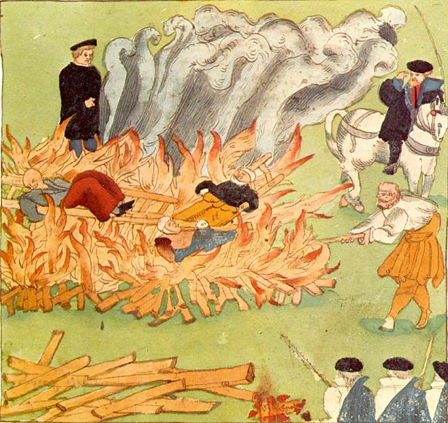 Burning of three witches in Baden, Switzerland (1585), by Johann Jakob Wick.  Image from Wikipedia.