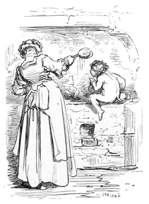 Hauskobold in Gestalt eines Kindes hilft einer Frau, von Gustave Doré, Public Domain