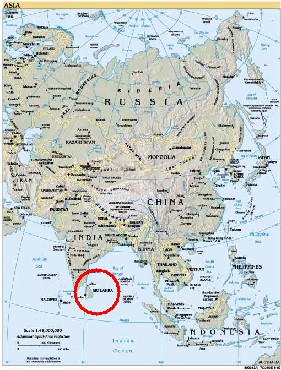 map of Asia indicating location of Sri Lanka