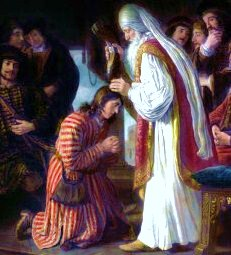 English: Samuel anointing king David