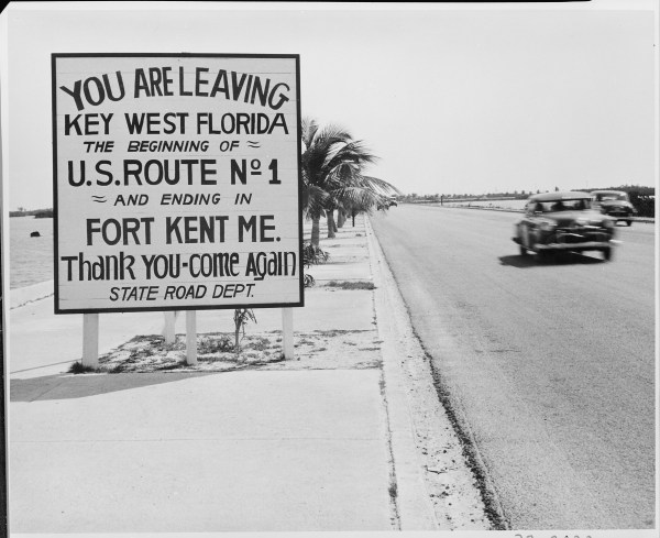 FilePhotograph of a road sign along the highway in Key