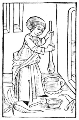 English: Butter making woman Français : femme,...