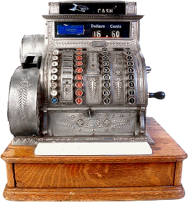 Antique three-column full-keyboard cash register.