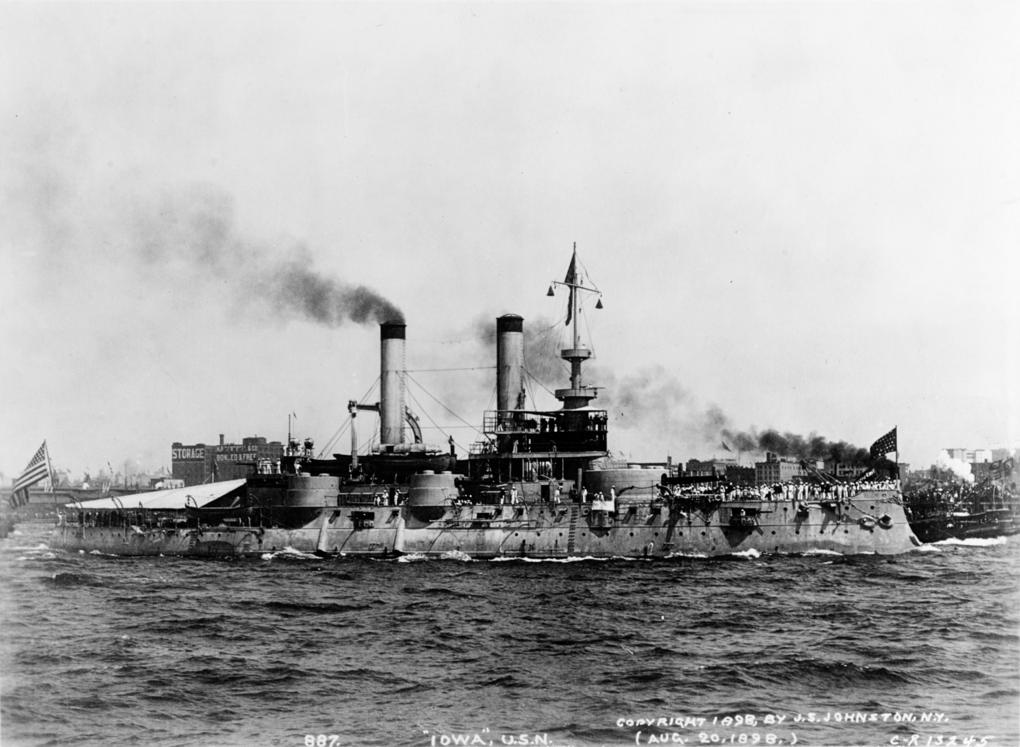 hight resolution of the newly built uss iowa bb 4 in new york harbor in 1898