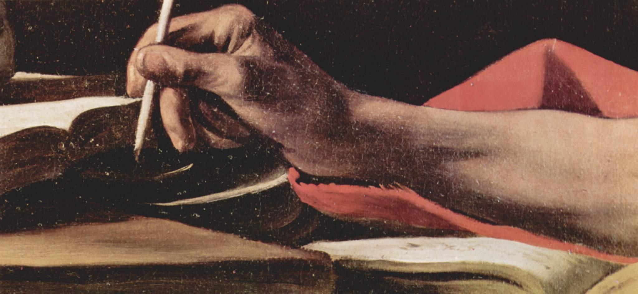Caravaggio, San Girolamo scrivente (part.)