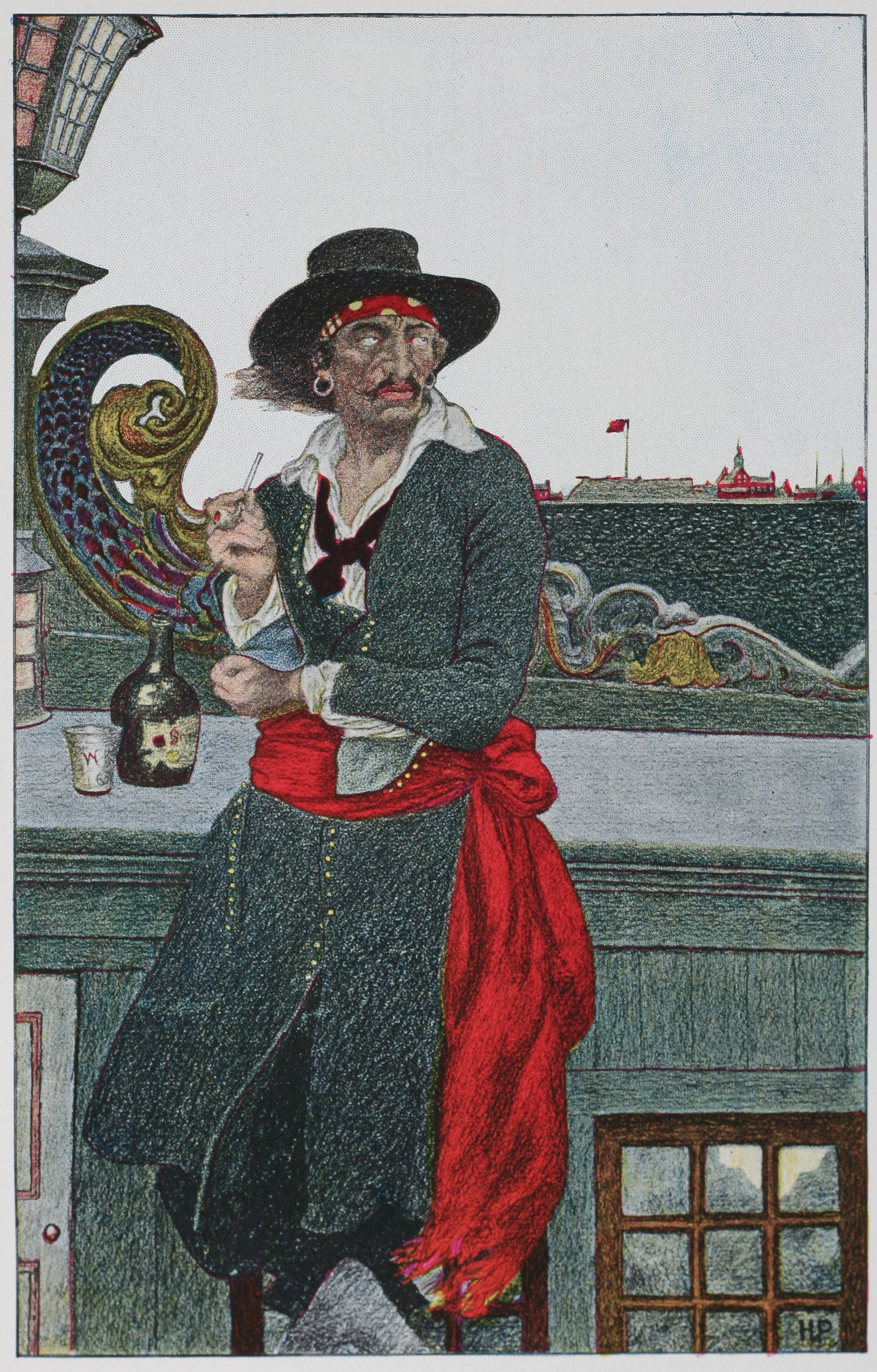 Arrrr, konnichiwa, arrr. Captain Kidd, who DIDNT visit Takarajima. A painting by Howard Pyle (stolen from wikipedia).
