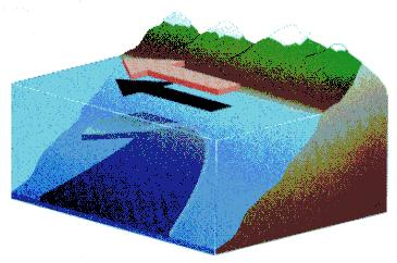 Upwelling that occurs in the currents of the ocean along the shore -