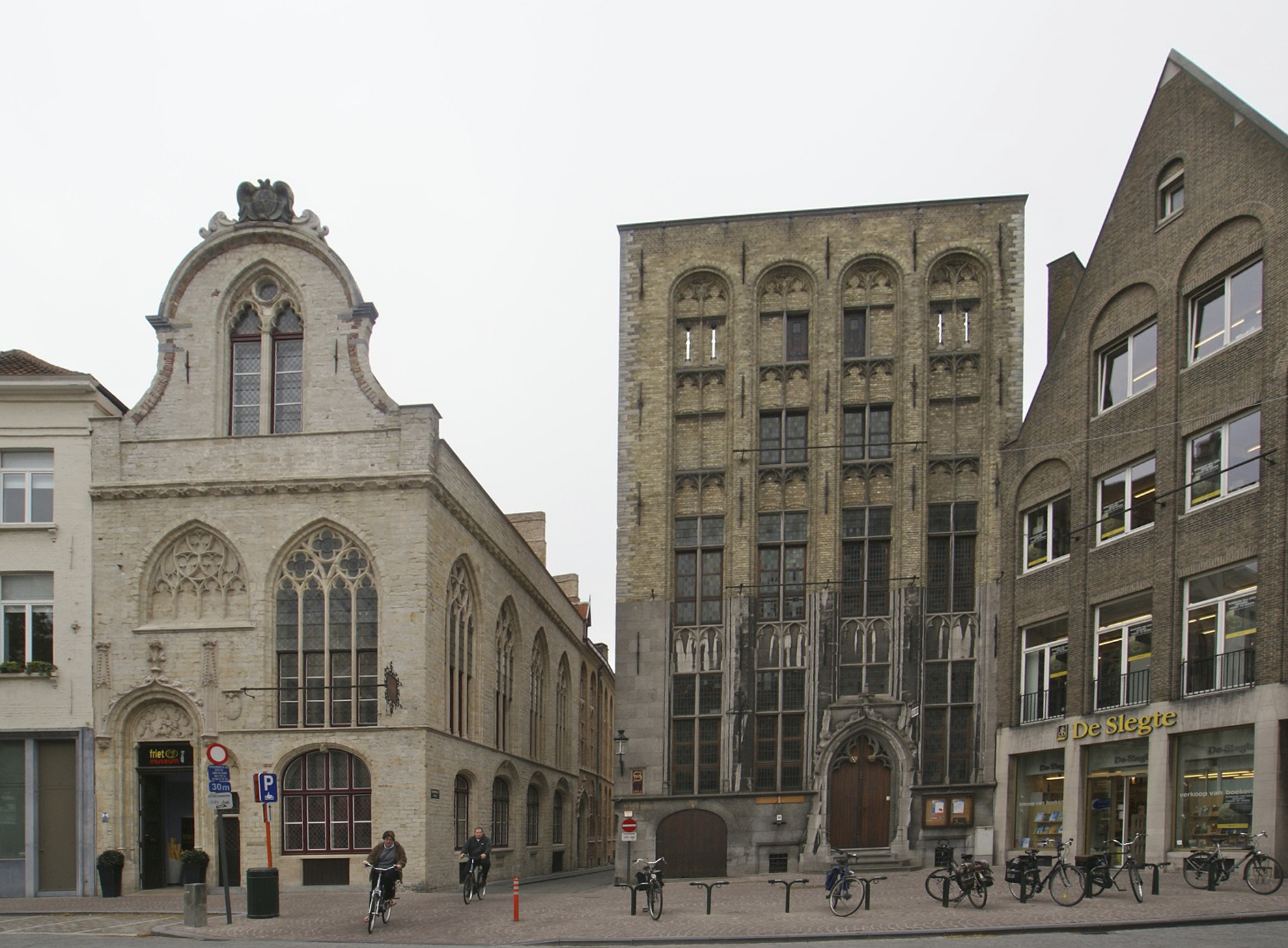 Wool market (left) and the first stock exchange in the world (right), Bruges, Belgium.