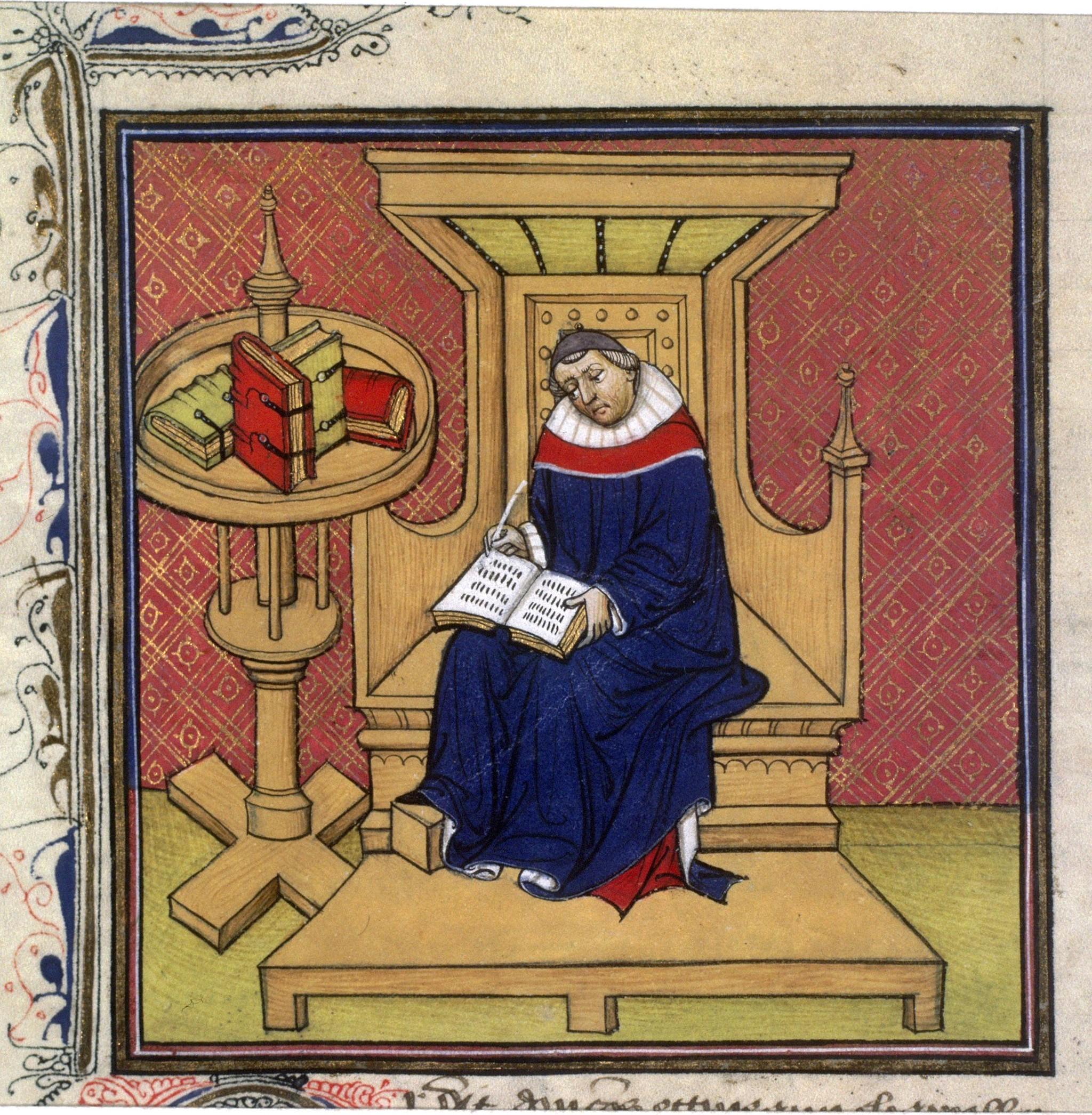 Eginhard aan het schrijven (15e eeuw)