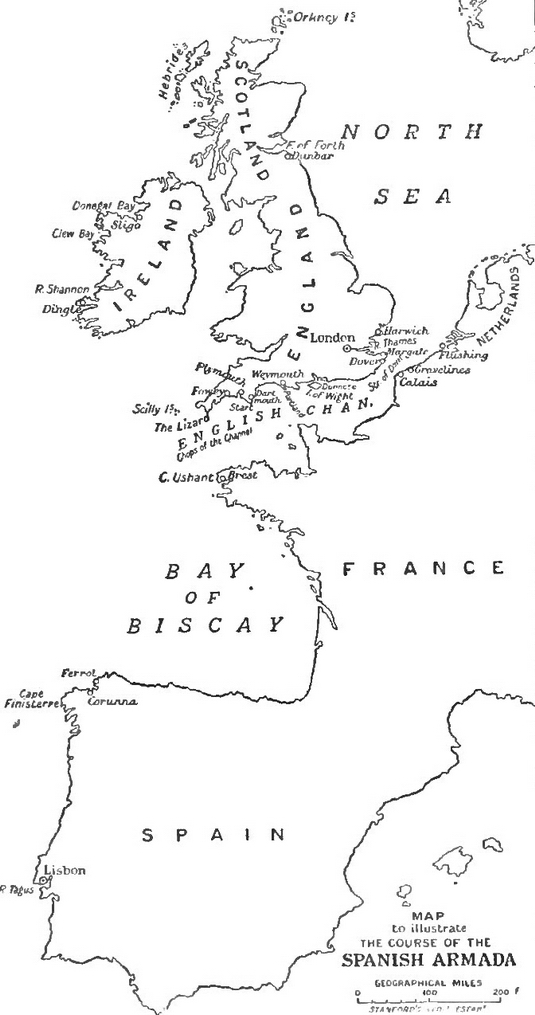 File:Map to illustrate the Course of the Spanish Armada