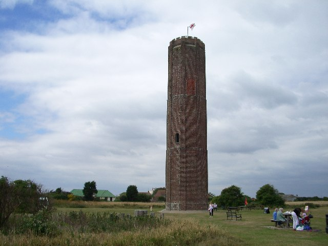 Naze Tower, Walton-on-the-Naze. This distinctive landmark was built in 1721 by Trinity House as a beacon for shipping.
