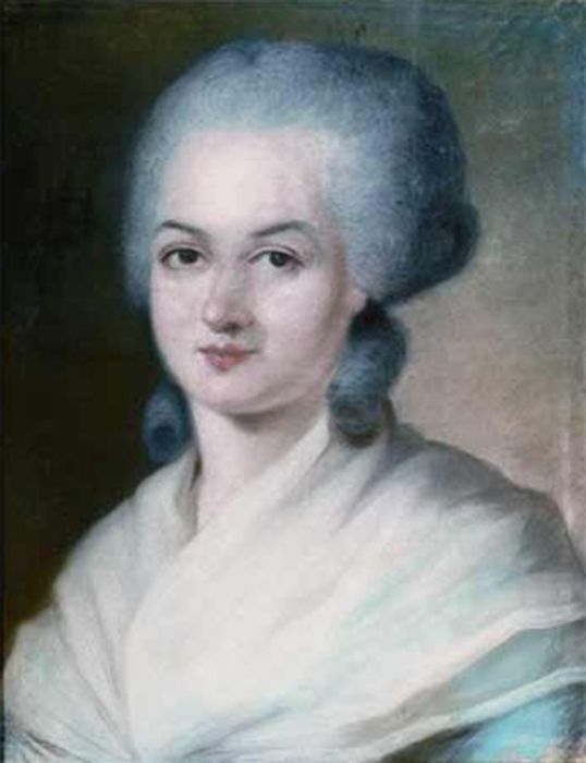 Detail of Kucharski's portrait of Olympe de Gouge