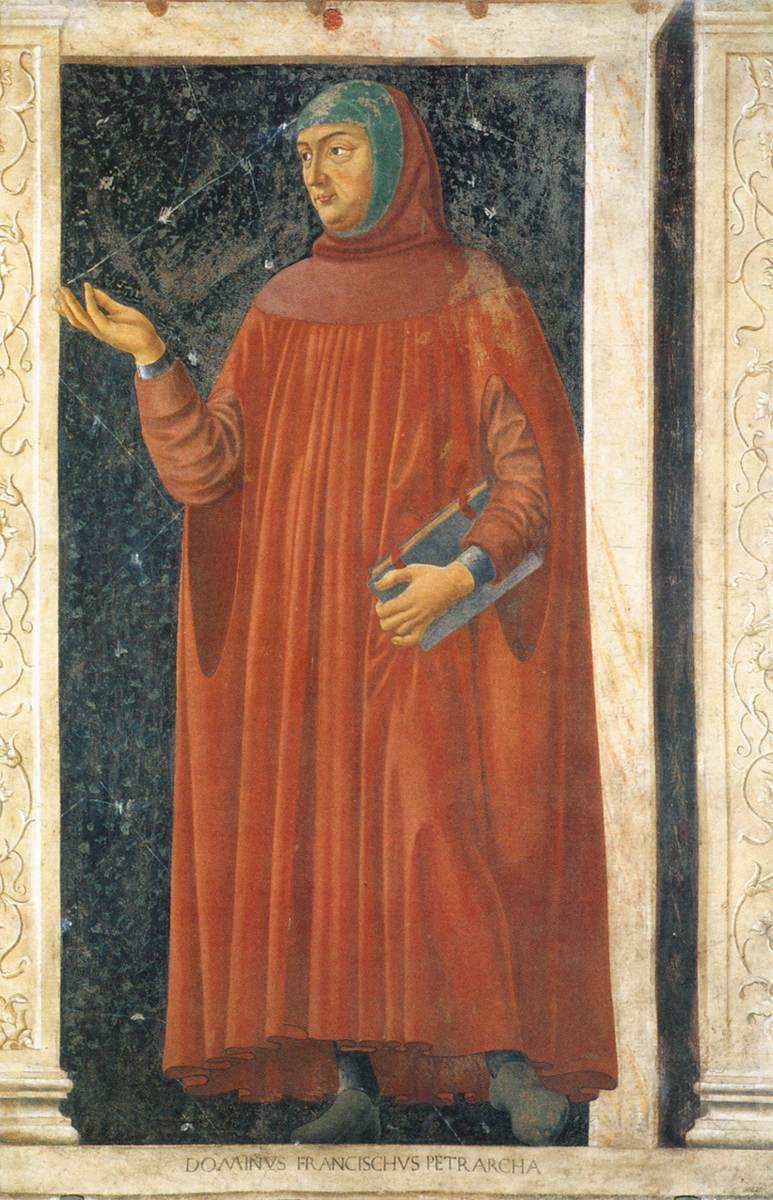 Portrait of Petrarch's work by Andrea del Castagno, murals Villa Carducci.