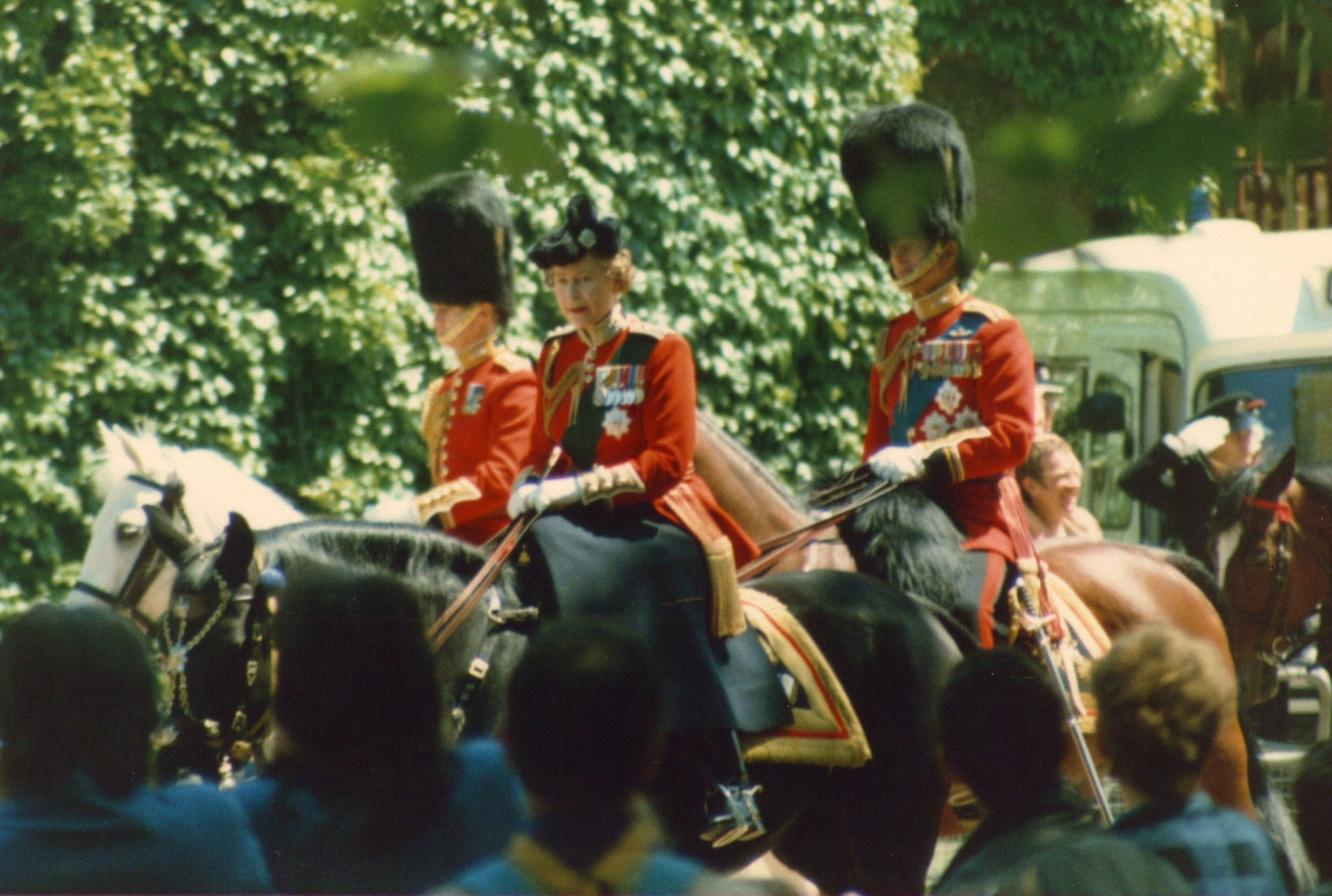 Her Britannic Majesty riding to Trooping the Colour in 1986