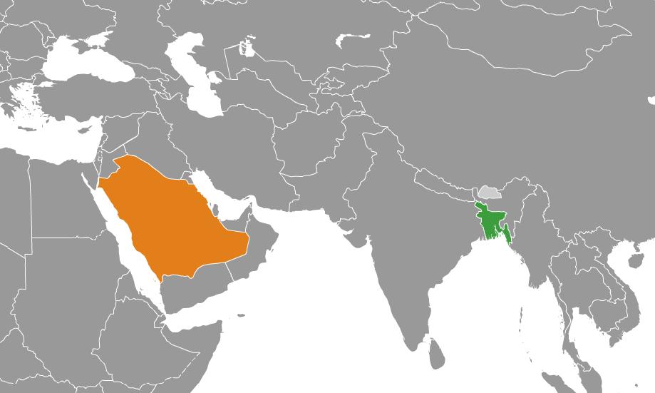 মানচিত্র Bangladesh এবং Saudi Arabia অবস্থান নির্দেশ করছে