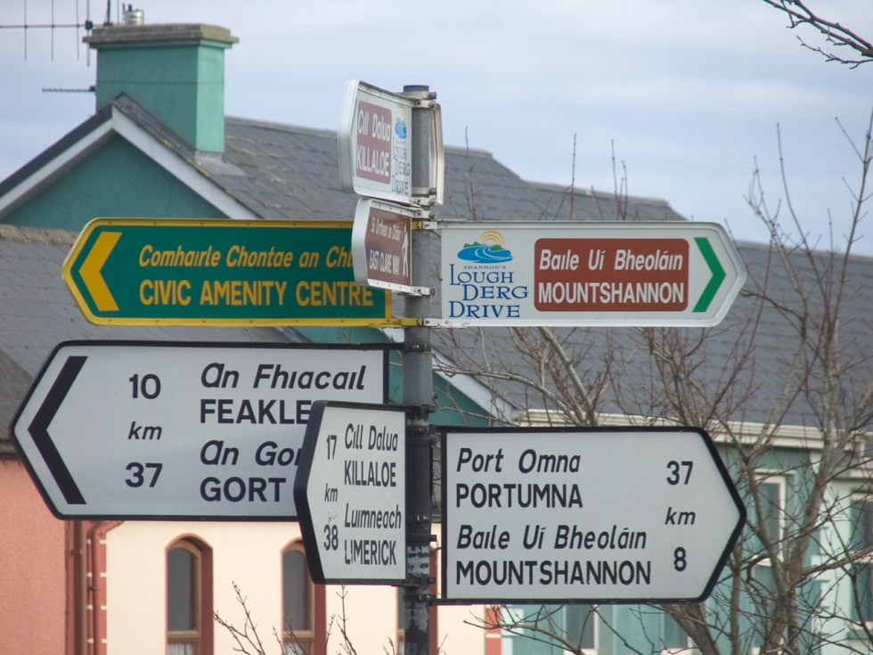 Irish road signs using dotless i and script a (upper and lower case)