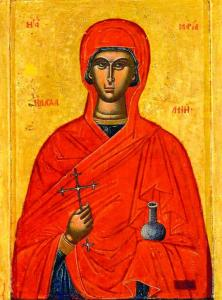Eastern Orthodox icon of Mary Magdalene as a M...