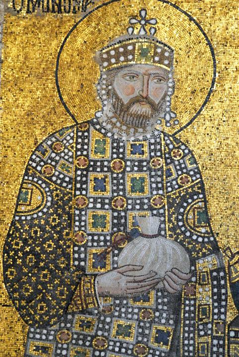 English: Mosaic of Emperor Constantine IX in t...