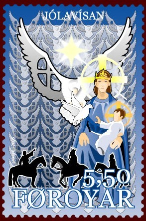 The Holy Spirit as a dove on a stamp from Faro...