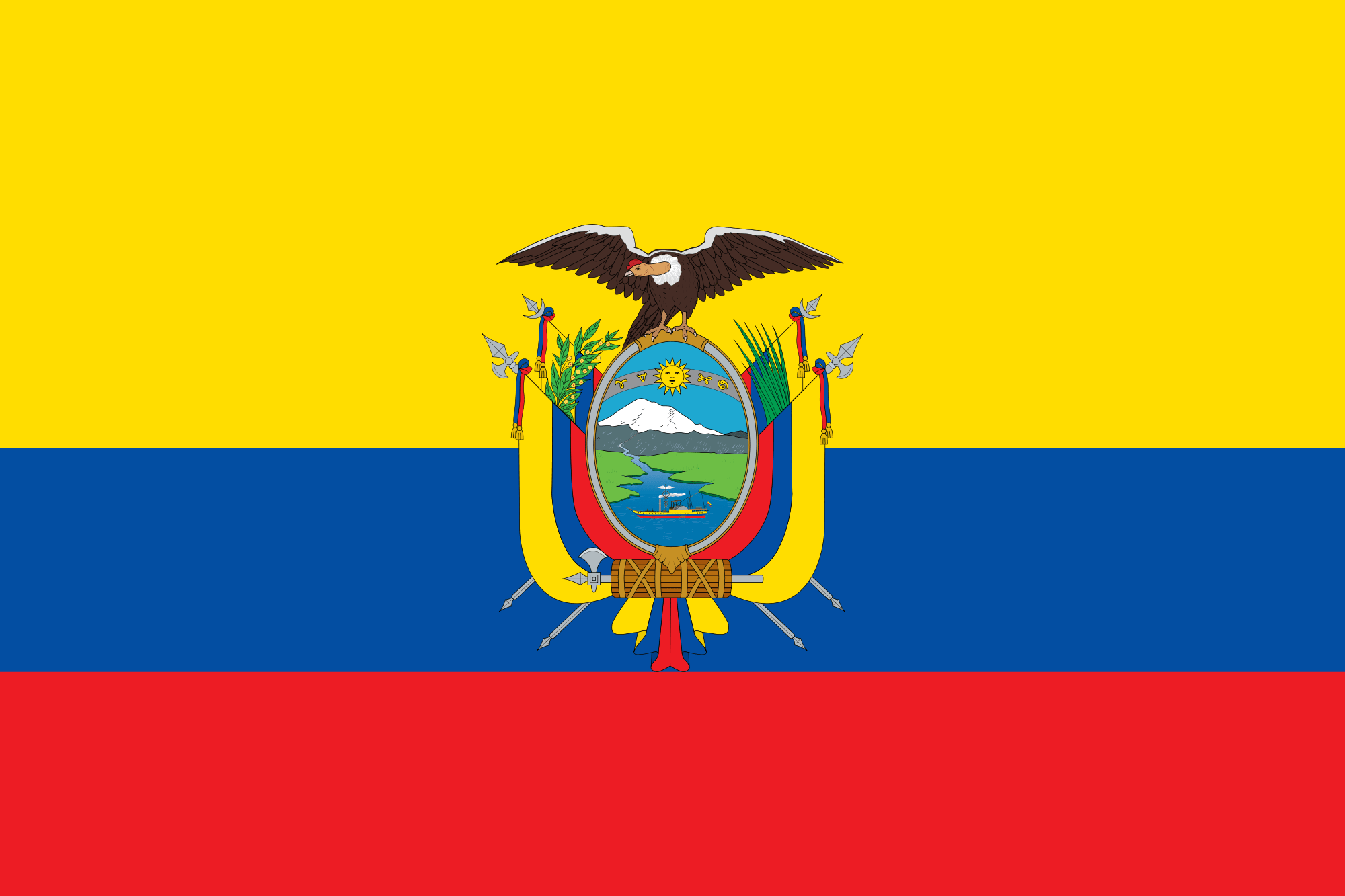 Flag of the Republic of Ecuador, used under GNU license from Wikimedia Commons
