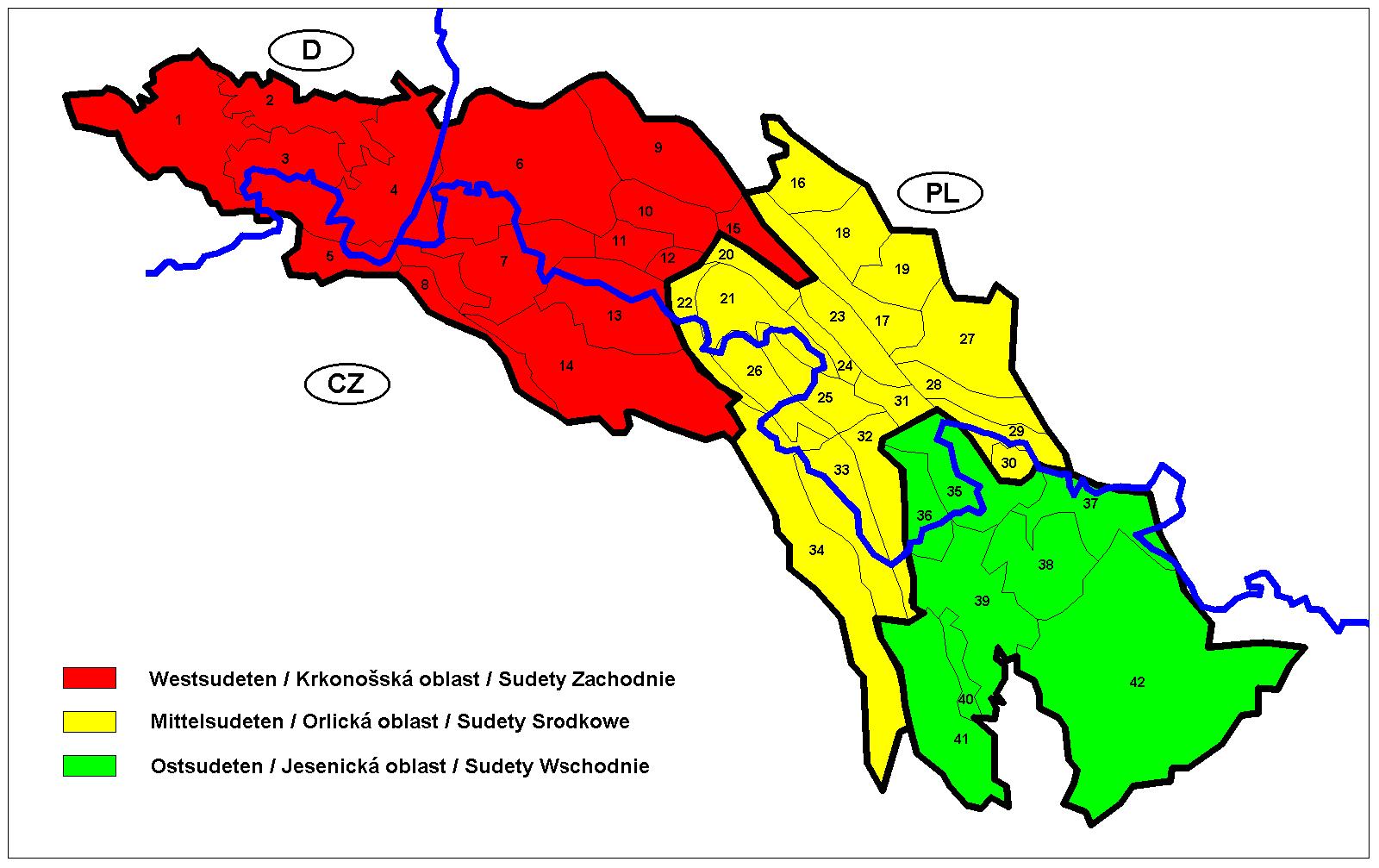Mapa de los sudetes con las fronteras actuales. El área de las Montañas Gigantes está definida por los números 11,12,13 y 14.