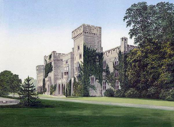 Picturesque asymmetrical Downton Castle Shropshire England, showing irregular design