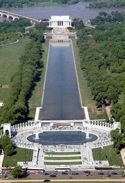 View of The National WWII Memorial (bottom) an...