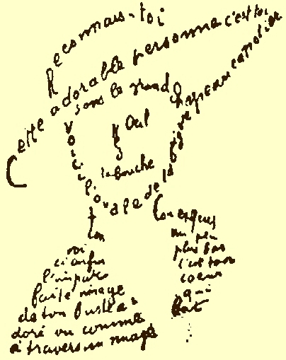 Calligram in French by Guillaume Apollinaire describing and visually representing his lover. Parts of the face's image (such as the hat, eye, nose, mouth, neck) each use words associated specifically with that part.