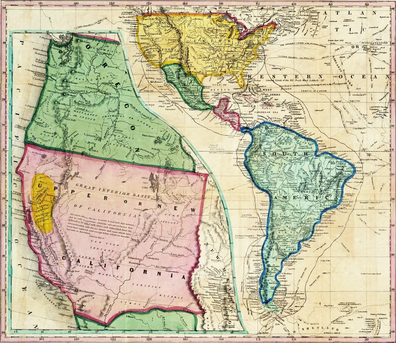 Gold Fields And Sailing Routes To California During The