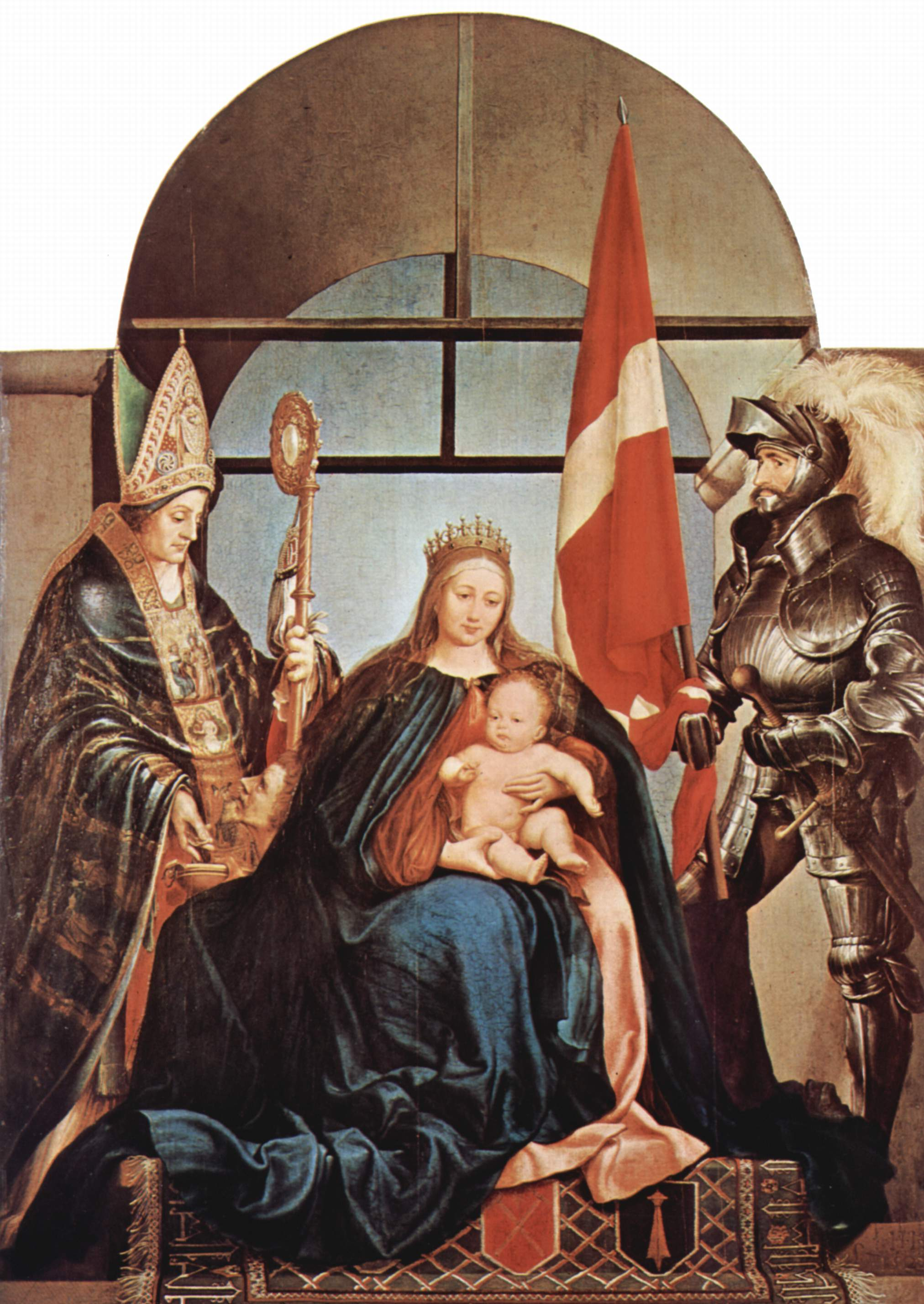 Madonna on a throne, St Nicholas (the guy with the cane) and St Ursus (the guy in armor), by Hans Holbein d. J., Gnu fD Licence