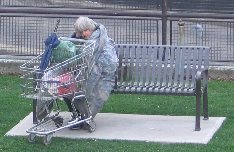 English: Homeless woman in Toronto.