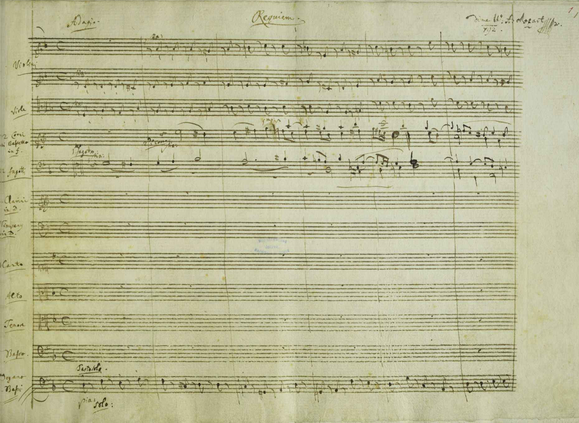 A portion of the manuscript of Mozart's Requie...