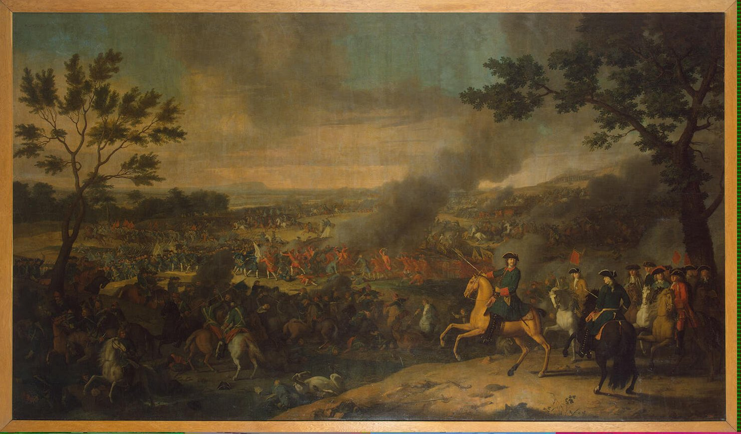 Battle of Poltava in 1709. Tsar Peter I of Russia is shown on a horse.