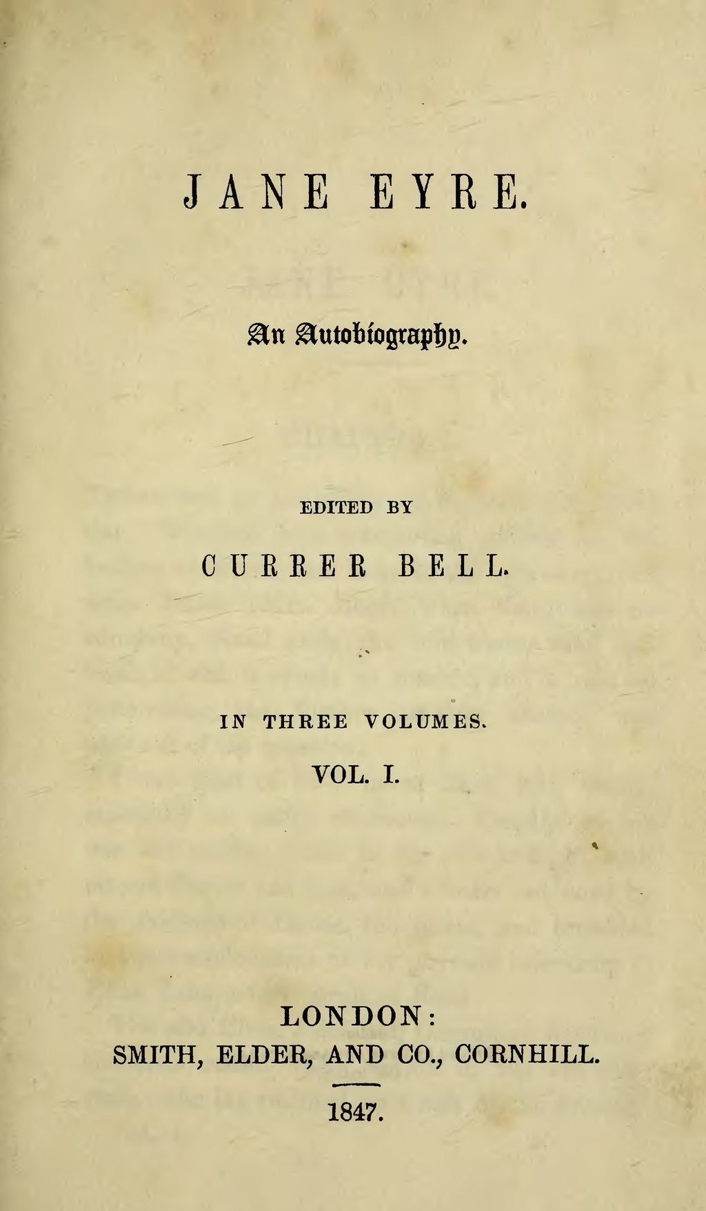 English: Title page, first edition, en:Jane Eyre.