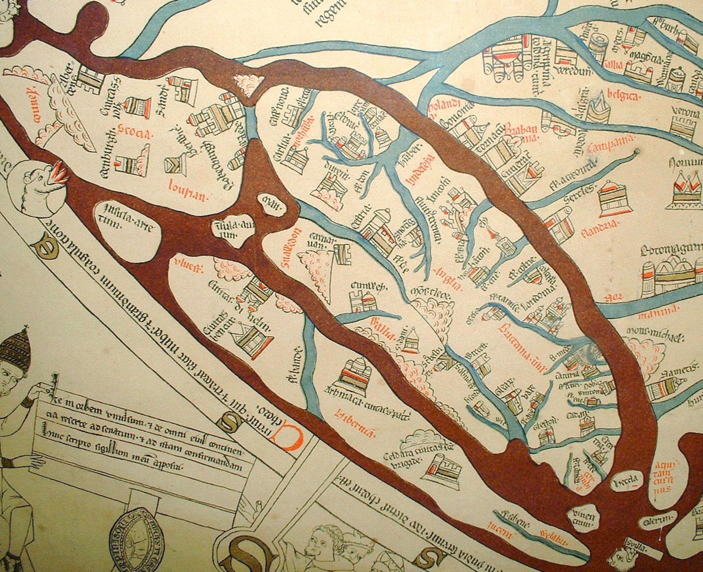 Hereford Mappa Mundi detail Britainedit