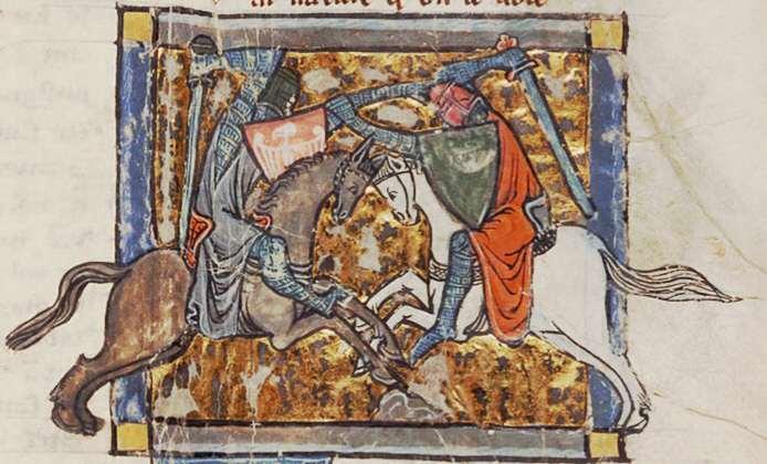 Yvain, le Chevalier au Lion, der bestimmt hier Pate stand, auf einer mittelalterlichen Illustration, public domain