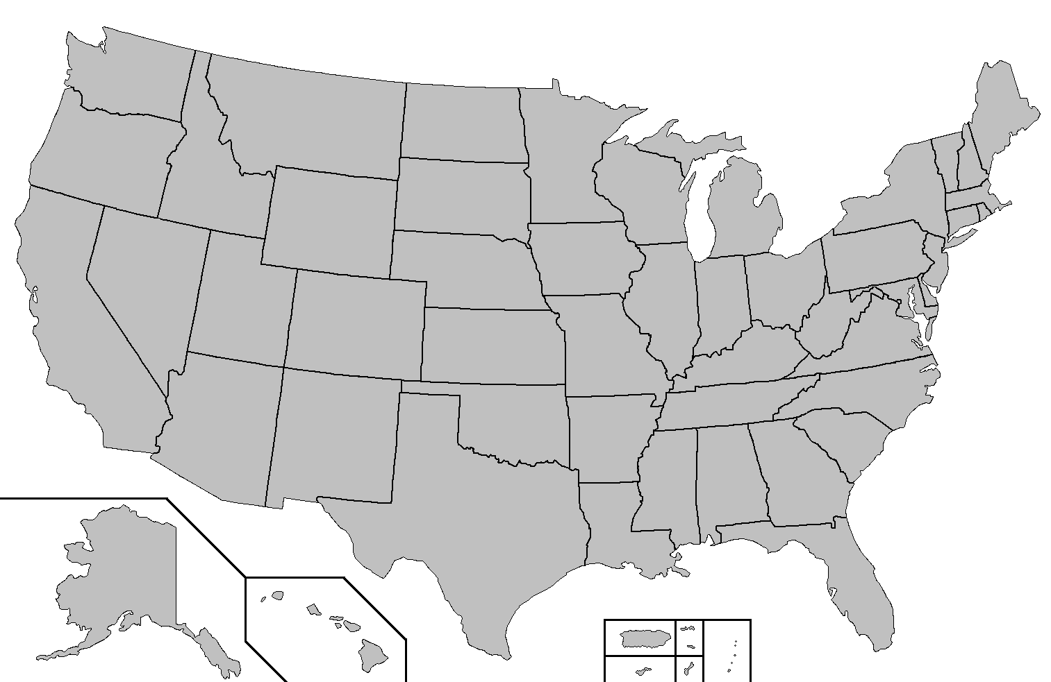 Blank U S Map With States