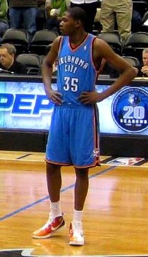 Kevin Durant waiting for the tip-off in OKC vs...