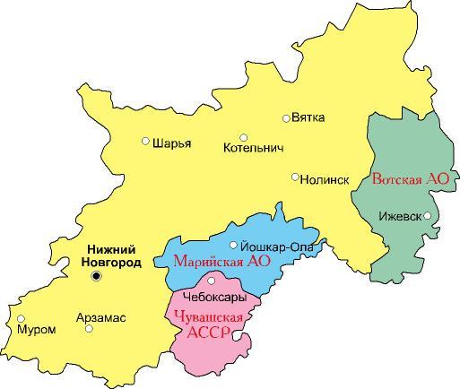 Горьковский край на карте