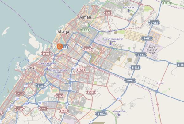 FileOpen Street Map of Barjeel Location in Sharjah UAE