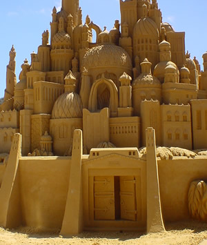 Intricate sand castle sculpture, approx. 10 fe...