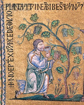 English: Farmer Noah (Mosaic in Basilica di Sa...