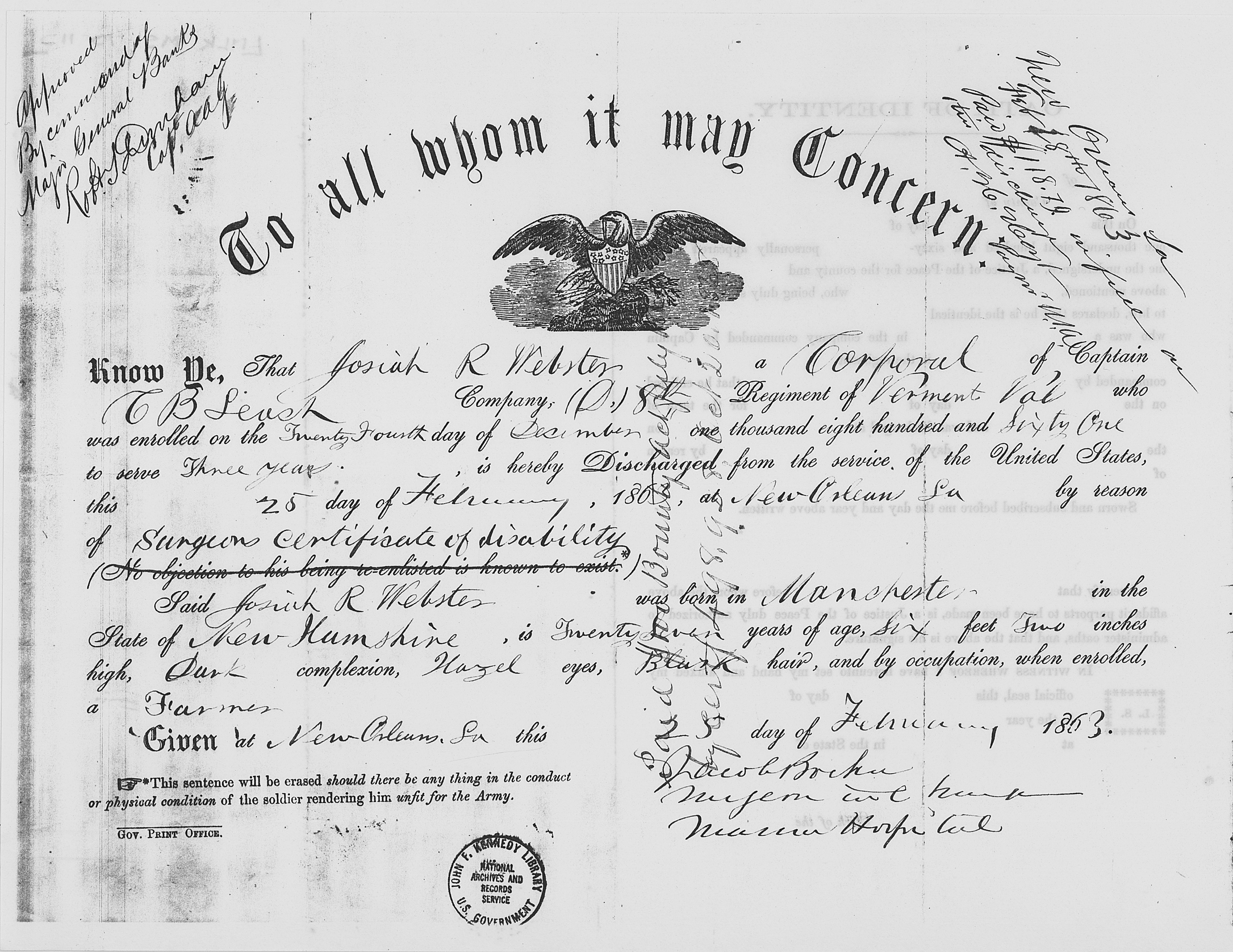 File:Josiah Webster Civil War Discharge Certificate