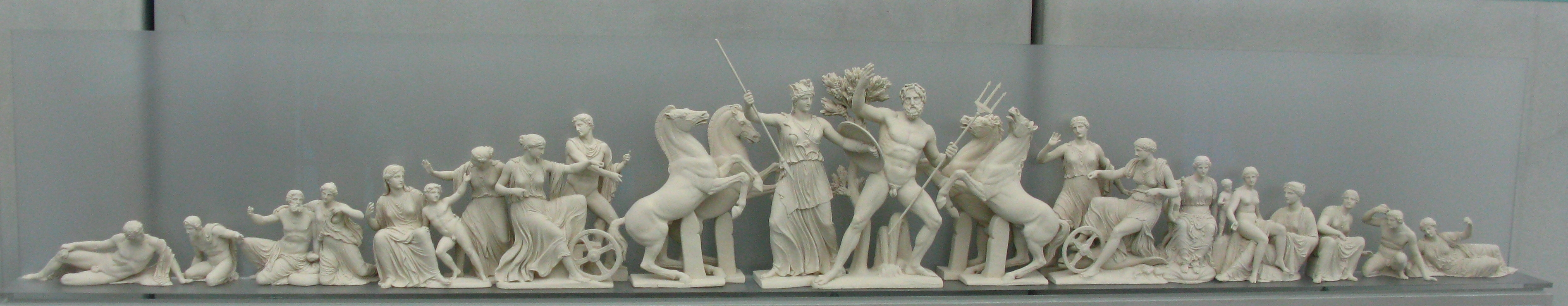 Reconstruction of the West pediment of the Parthenon, in scale.